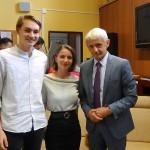 Mikuláš Dzurinda s moderátormi diskusie Sabínou Kvasnicovou a Christianom A. Filtom